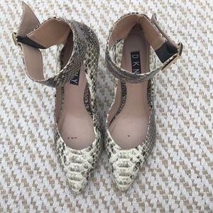 DKNY snakeskin ankle strap heels